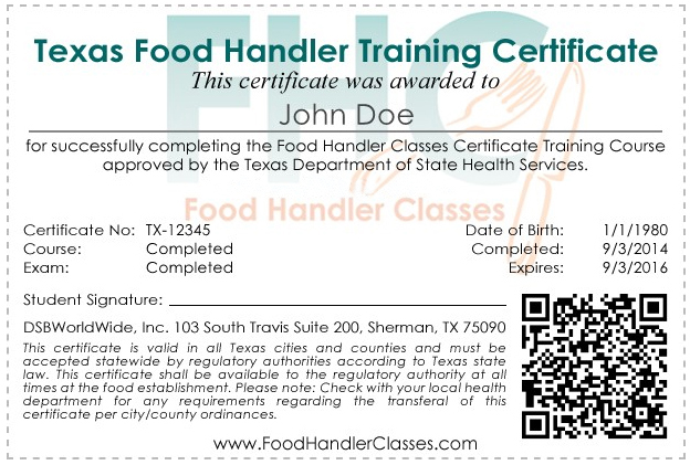 Food Handler Classes Food Handler Certificate Sample