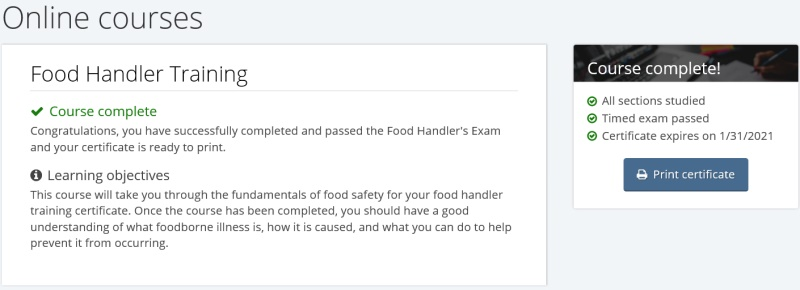 food handler classes: giving pass key and codes to employees